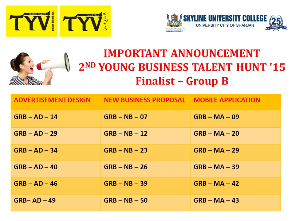 important announcement 2nd young Business talent hunt 15 finalist group b