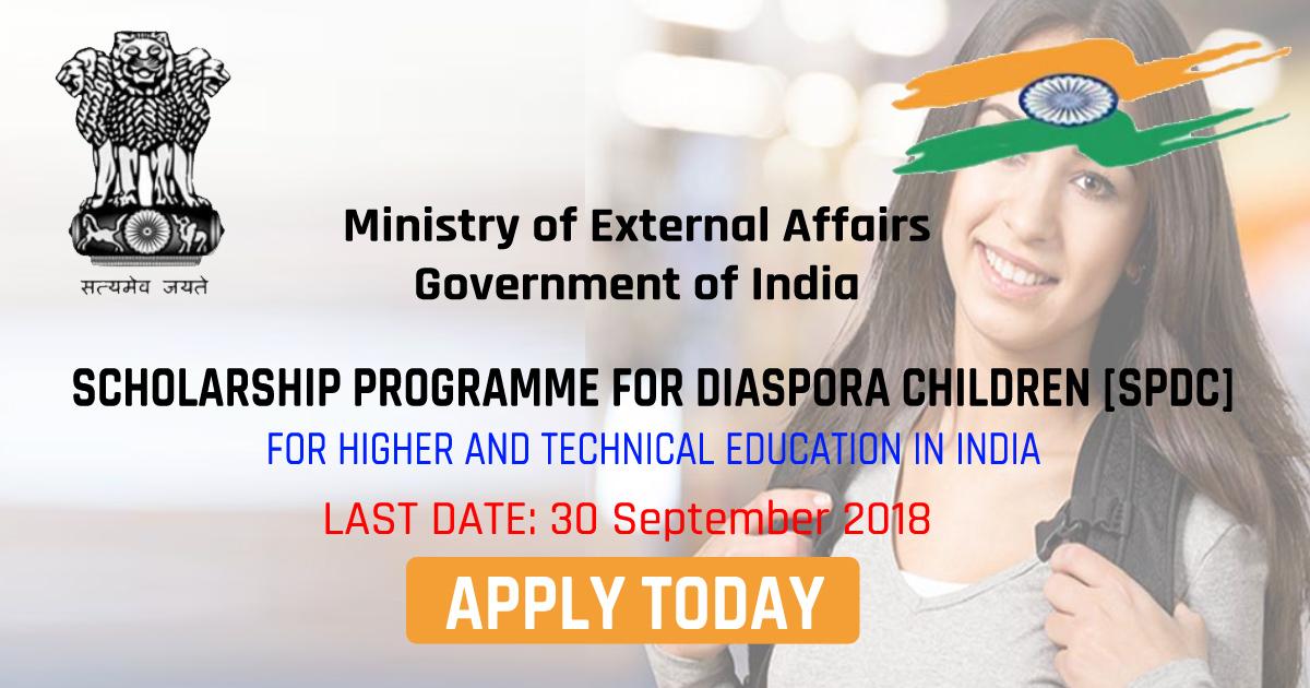 Scholarship Programme for Diaspora Children for academic session 2018-19