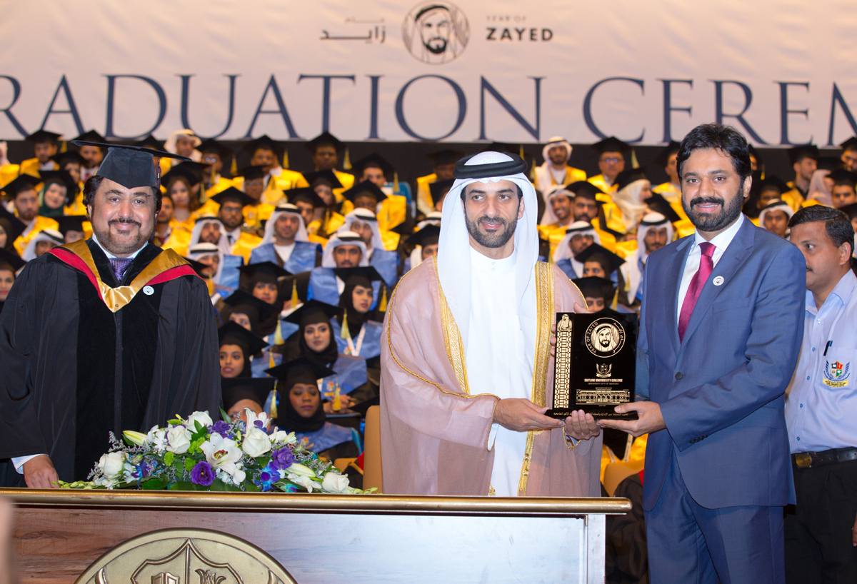 Mr. Kamal Puri - SUC Founder President, H.E. Sheikh Sultan Bin Ahmed Al Qassimi - Chairman of Sharjah Media Corporation and Member of the Sharjah Executive Council, UAE (The Chief Guest of the ceremony), and Mr. Nitin Anand - SUC COEC
